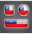 Chile flag glass buttons vector image