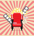 cinema seats in a cinema with popcorn drinks and vector image vector image