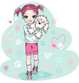 cute bagirl with puppy vector image vector image
