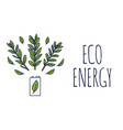 eco energy or green power with a white battery vector image