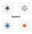 energy icon set four elements in diferent styles vector image vector image