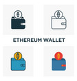 ethereum wallet icon set four elements in vector image vector image