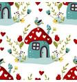fairy mushroom house seamless pattern vector image vector image