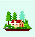 family suburban cottage house flat design vector image vector image
