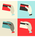Flat Design Hands with Credit Cards Set vector image vector image