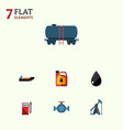 flat icon petrol set of boat rig flange and vector image vector image