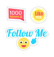 follow me smiley and like stickers set vector image vector image