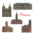 france famous travel landmarks icons vector image vector image