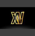 gold black alphabet letter xv x v logo vector image vector image
