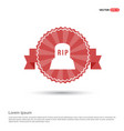 halloween rip grave stone icon - red ribbon banner vector image