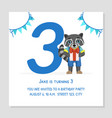 happy birthday 3 years banner template birthday vector image