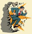 leader businessman breaks a wall destroys vector image vector image