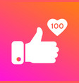like thumbs up icon on gradient background icon vector image