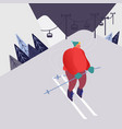 man skiing in mountains people character with vector image