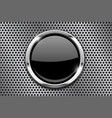 metal perforated background with black round glass vector image vector image