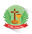 palm sunday badge cross bread cup branch poster vector image vector image