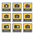 photo camera icons and signs set in vector image
