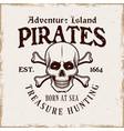 pirate skull and crossed bones emblem in vector image