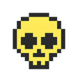 Pixel skull pixel art cartoon retro game style vector image