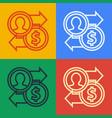 pop art line job promotion exchange money icon vector image vector image