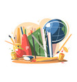 School supplies in a creative style vector image