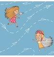 Seamless pattern with airplanes and girls vector image