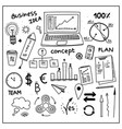 Set of business doodle elements hand drawn style vector image