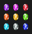 set oval jewels different colors gemstones vector image vector image