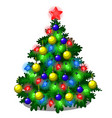 sketch with cute christmas tree with new year and vector image vector image