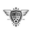 soccer team logo with a ball and wings on white vector image vector image