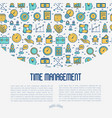 time management concept with thin line icons vector image vector image