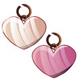 two pendants in the shape of a heart isolated on a vector image