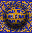 welcome patterned sphere rolling on rotating vector image vector image