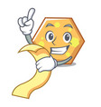 with menu hexagon mascot cartoon style vector image