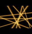 yellow light laser beam on black vector image vector image