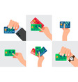 Hand holding credit card isolated vector image
