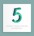 3d abstract style logo with number 5 vector image