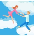 affection young couple on clouds vector image