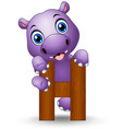 alphabet h with hippo cartoon vector image vector image