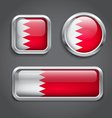 Bahrain flag glass buttons vector image