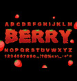 berry font strawberry abc red fresh fruit vector image vector image