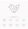 Bird icon Chick with beak sign vector image vector image