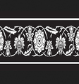 Black and white vintage border floral seamless vector image vector image