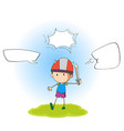 boy playing sword with speech balloon vector image vector image