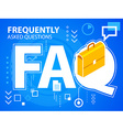 bright faq and work suitcase on blue backgro vector image