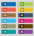 Brush Icon sign Set of twelve rectangular colorful vector image