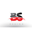 bs b s brush logo letters with red and black vector image vector image