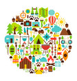 camping flat objects circle vector image vector image