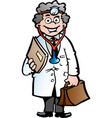 cartoon a clever professor or doctor vector image vector image