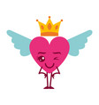 cartoon heart in love wink kawaii wings and crown vector image